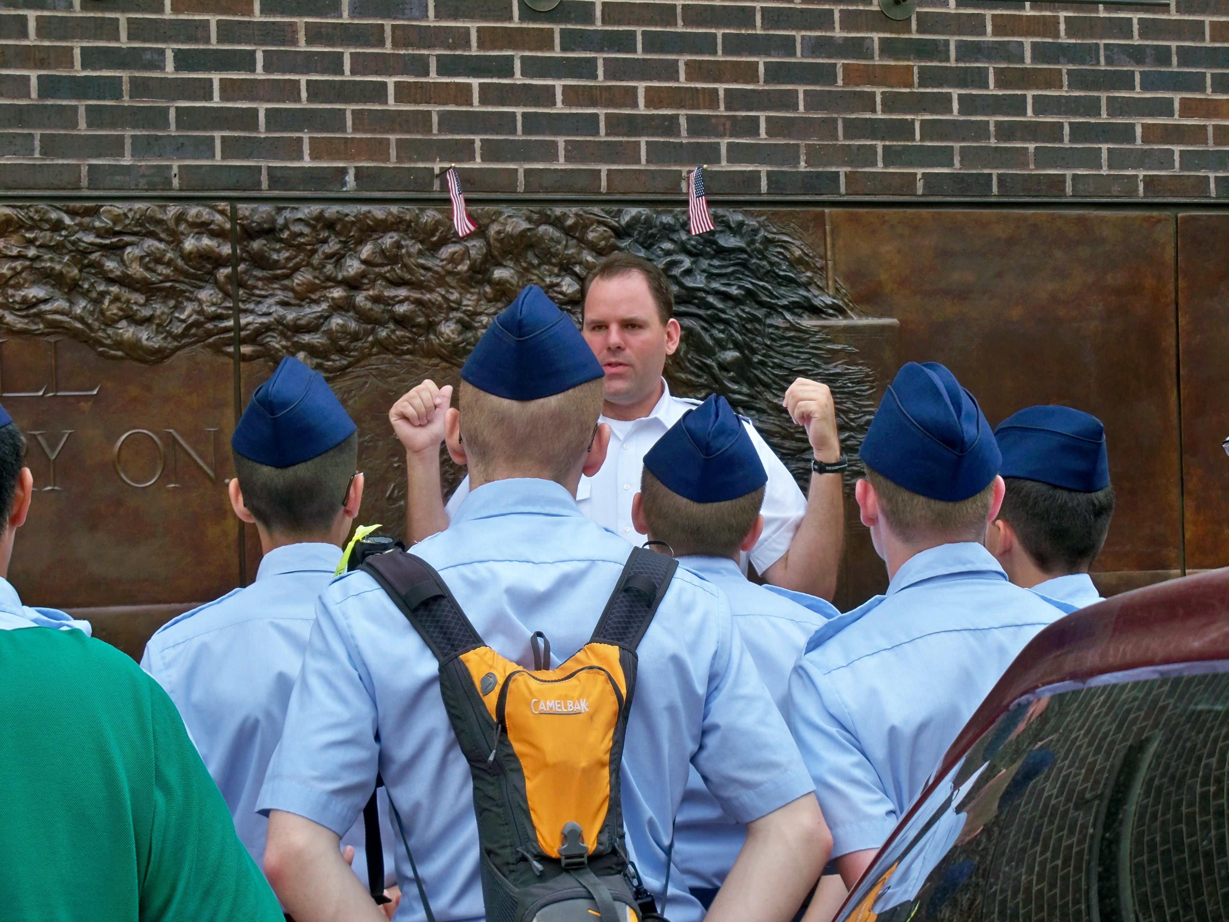 Lt. Roberts leads cadets on a visit to Ground Zero memorial