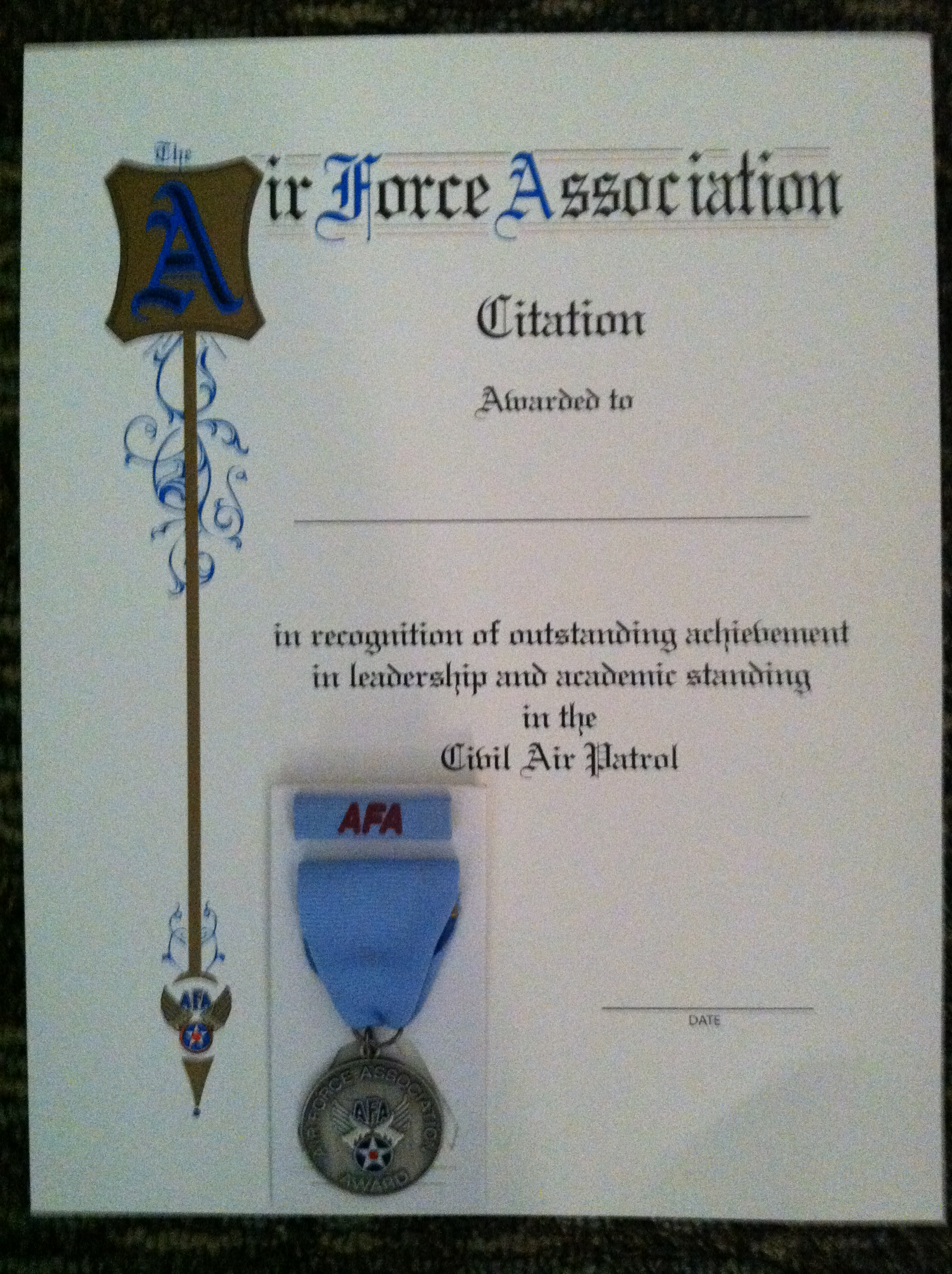 Afas cap outstanding squadron cadet recognition civil air patrol for award information click here for award order form click here yelopaper Gallery