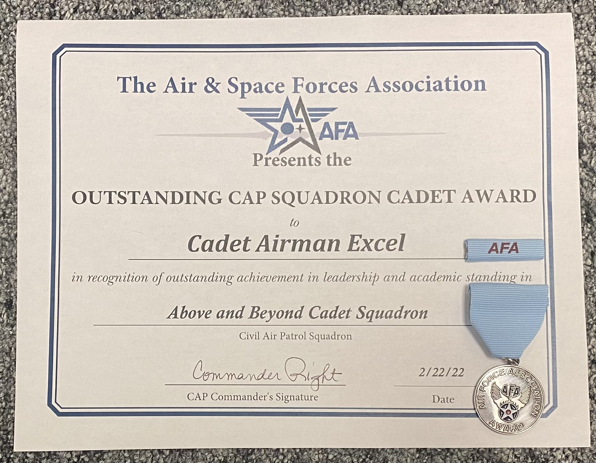 Afas Cap Outstanding Squadron Cadet Recognition Civil Air Patrol