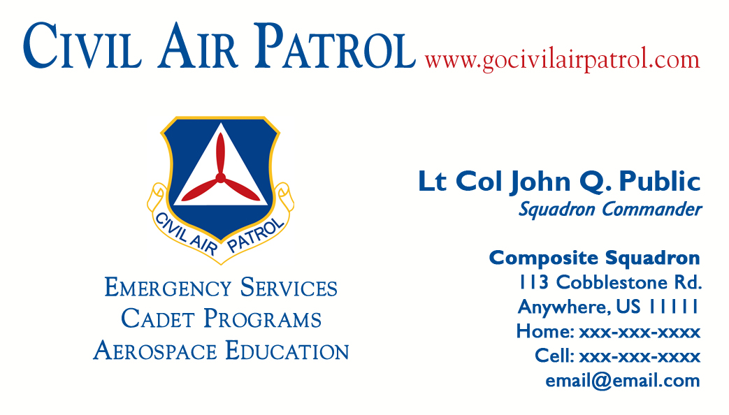 Business card templates civil air patrol national headquarters business card templates below are three variations of the cap yelopaper Gallery
