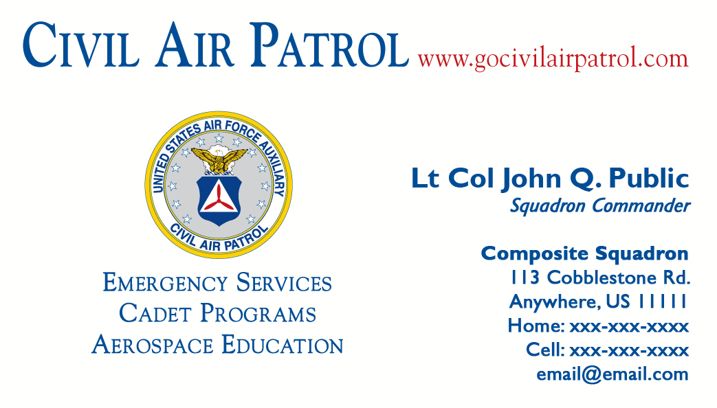 Business card templates civil air patrol national headquarters business card templates cheaphphosting Image collections
