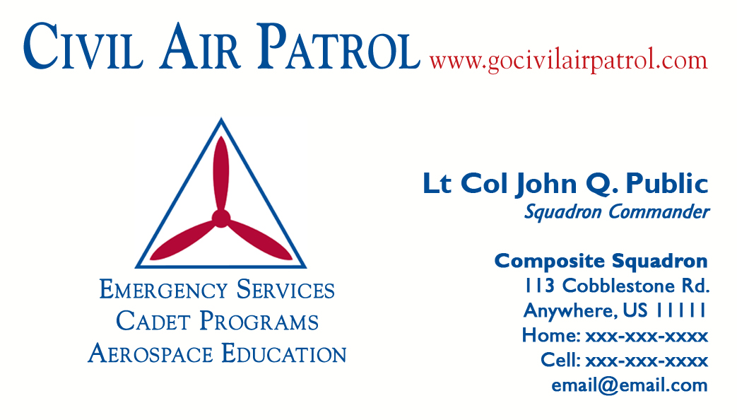 Business Card Templates Civil Air Patrol National Headquarters - Email business card templates