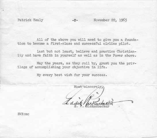 A letter from Eddie Rickenbacker