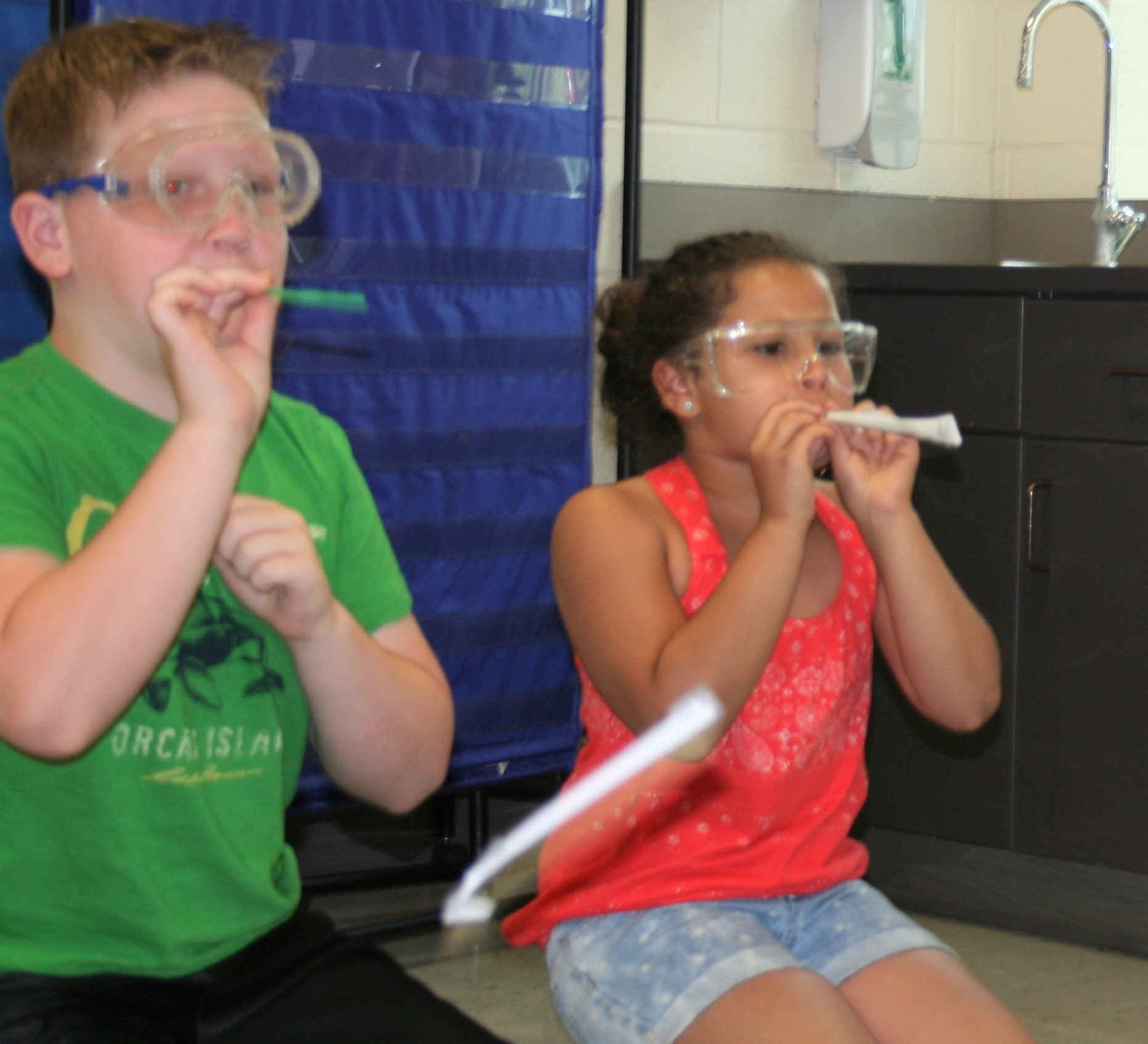 Students demonstrate Straw Rocket lesson plan