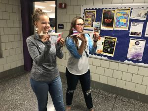 Elementary education students fly their CAP Delta Dart model planes